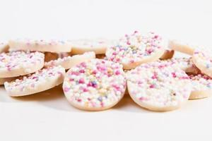 White Chocolate Buttons with rainbow sprinkles photo