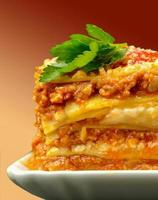 Closeup portion of lasagna