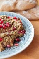 Burnt Eggplant with tahini and pomegranate