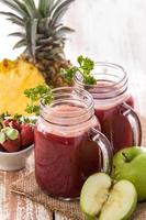 Pineapple, apple and Strawberry mix juice