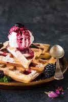 Waffles and ice cream photo