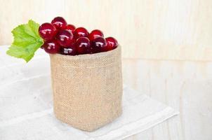 grapes in sack bag