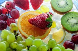 juicy fruits on ice