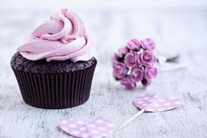Magdalena de chocolate rosa