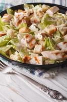 Caesar salad with grilled chicken breast. Vertical