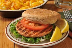 Grilled salmon burger photo