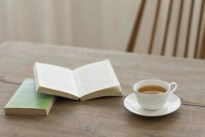 A single cup of tea on a wooden table with books