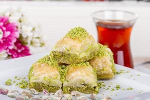 Traditional Turkish Arabic Dessert - Baklava with Honey and Nuts
