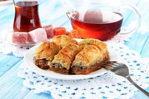 Sweet baklava in plate with tea on table close-up