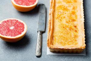 Creme brulee grapefruit custard tart photo