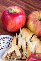 fresh baked sliced apple pie photo