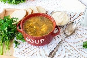 Sopa de acedera verde con huevo en plato foto