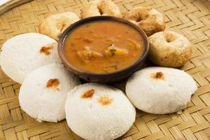 Indian food idli and vada with sambar photo