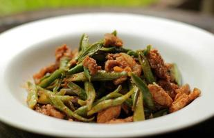 Red curry paste with sting bean. photo