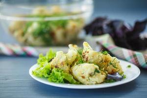 coliflor frita con hierbas
