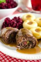 Beef rolls, potato dumplings and fried beetroots, polish dinner