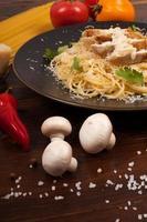 Spaghetti with white sauce photo