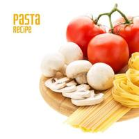 Spaghetti and nest pasta with vegetables photo