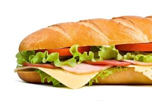 Cheese ham lettuce and tomato baguette