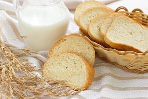Sliced wheat bread and milk photo