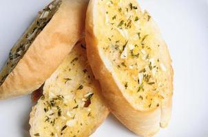Garlic bread close up