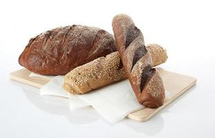 pan diferente fondo de comida foto