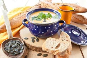 Homemade pumpkin soup photo