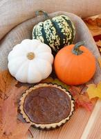 Small pumpkin pie with leaves and gourds