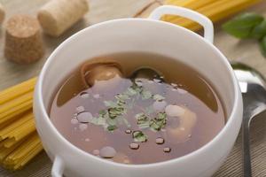 tortellini in meat soup photo