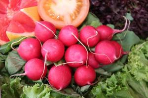 vegetables, radishes, tomatoes, grapefruit,