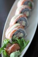 salmon sushi rolls photo