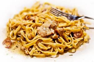 noodles with mushrooms and cheese photo