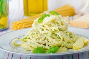 Macaroni with pesto photo