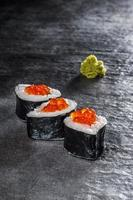 Rolls with salmon and prawn