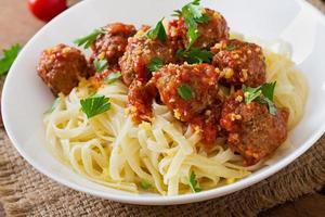 Fettuccine Pasta with meatballs in tomato sauce