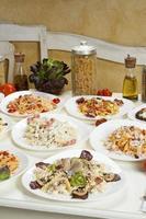 Several prepared pasta