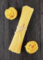 Tagliatelle and spaghetti italian pasta