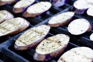 Sliced Asian Eggplant On The grill photo