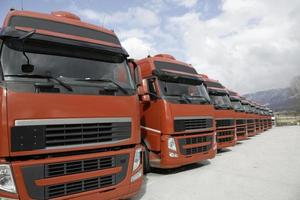 corporate fleet trucks lined