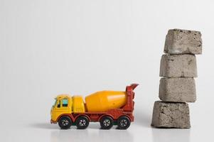 Cement truck with concrete blocks