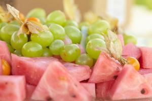 grapes, watermelon, physalis, kiwi