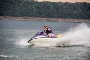 Riding a Jet ski. photo