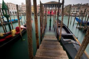 Gondolas in the Grand Canal of Venice
