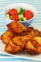 Roasted chicken drumsticks with green salad