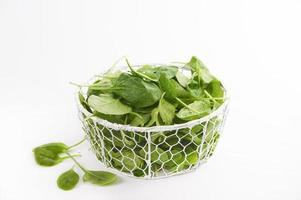 Baby spinach isolated on a white background photo