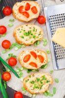 Bruschetta with cherry tomatoes and scallion photo