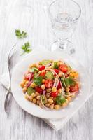 Healthy chickpeas salad with vegetables