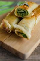 Pancakes with spinach and ricotta cheese