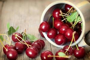 Sweet cherries  in a vintage bowl