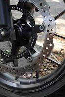 Disc brakes of a motorcycle. photo